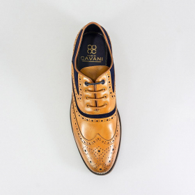 Men's Tan Brown Signature Suede Leather Big Size Brogues