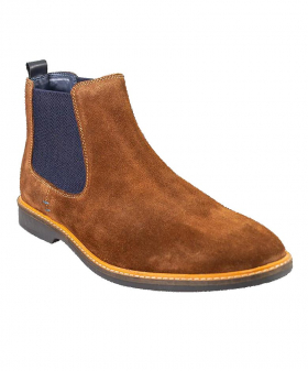 Italian Couture Mens Cavani Tan Brown Slip On Suede Leather Chelsea Boots