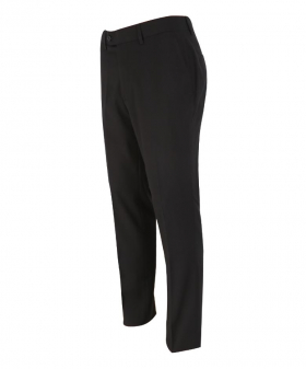 Left side view of the Mens Slim Fit Formal Black Stretch Trousers