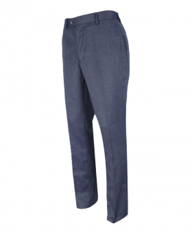 Right side view of the Men's Steel Blue Slim Fit Smart Trousers