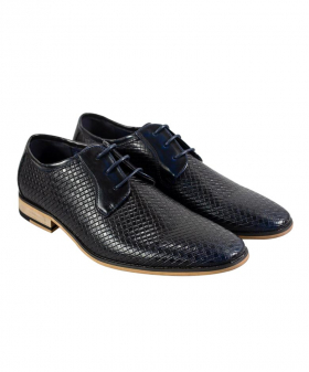 View from the pair of the Italian Couture Men's Navy Blue Patterned Leather Lace up Shoes