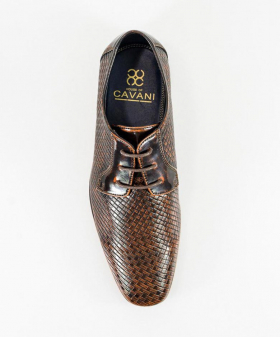 Italian Couture Men's Tan Brown Patterned Leather Lace-up Shoes front picture