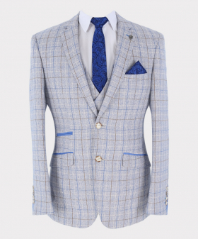 Check Blazer Jacket with accessories  Front Picture