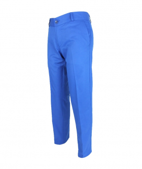 Left view of the Designer Slim Fit Boys Blue Chino Trousers
