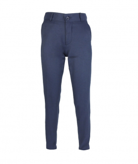 Front view of the Designer Slim Fit Boys Navy Blue Chino Trousers
