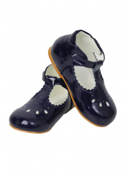 Baby Girls Patterned Design Bridesmaid Wedding Party Navy Shoes
