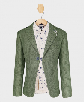 Doctor Junior Boys Green and Grey Slim Fit Casual Dress Suit Blazer Jacket