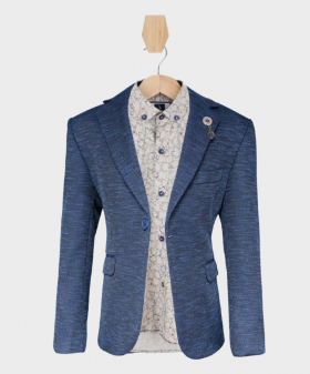 Doctor Junior Boys Navy Blue and Brown Slim Fit Casual Dress Suit Jacket Blazer