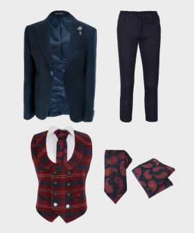 Boys Casual Cashmere Suit Set in Navy Blue  Wool Blazer with Navy Red Check Waistcoat with shirt tie and hankie 6 pieces set front picture