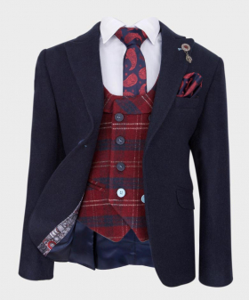 Boys Casual Cashmere Suit Set in Navy Blue  Wool Blazer with Navy Red Check Waistcoat with shirt tie and hankie front open picture