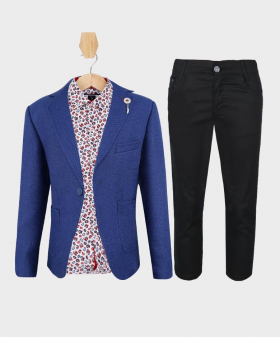 Doctor Junior Boys Royal Blue and Black Slim Fit Casual Dress Suit