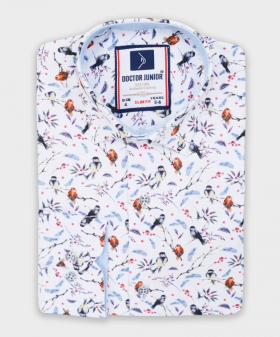 Doctor Junior Boys Slim fit Birds Printed White Casual Shirt-classic collar picture