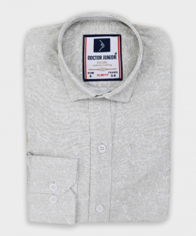 Boys Floral Patterned Slim Fit Shirt in Grey Beige picture