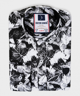 Doctor Junior Boys Slim fit Leaves Print Classic Colar Black and White Fashion Exclusive Shirt
