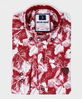 Doctor Junior Boys Slim fit Leaves Print Classic Colar Burgundy and White Fashion Exclusive Shirt