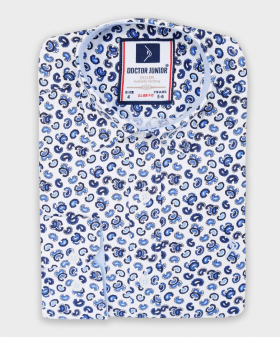 Boys Slim fit Paisley Printed Slim Fit Casual Shirt in White & Navy  picture