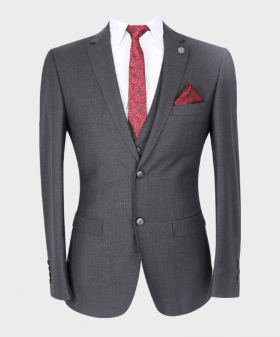 Father & Son Suit Formal Tailored Fit 3 Piece Set in Charcoal Grey