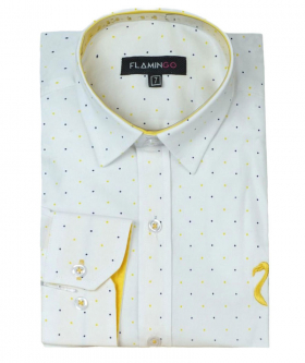 Boys Polka Dot Slim Fit Shirt in White front picture