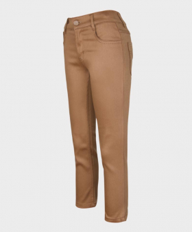 Flamingo Boys Brown Slim Fit Casual Dress Suit Chino Trousers-Angled