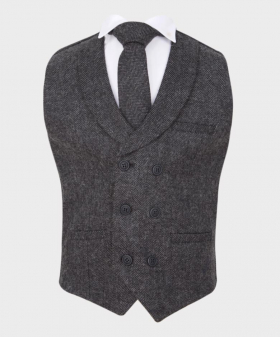 Boys Herringbone Tweed Double Breasted Waistcoat in Dark Grey  with accessories Front Picture