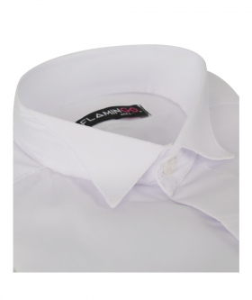 Collar view of the Flamingo Double Cuff Wing Collar White Shirt with Cufflinks