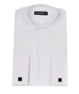 View of the Flamingo Double Cuff Wing Collar White Shirt with Cufflinks