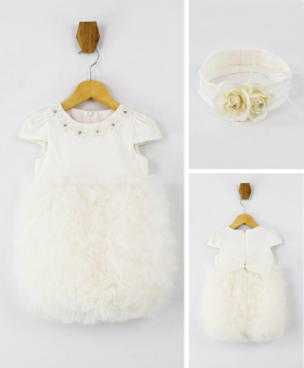 Flower Baby Girls Tutu Baptism Dress 2 Piece Set in White front and back pictures
