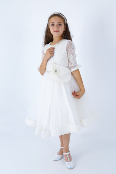 Flower Girls Communion Lace Diamante Embroidered Dress 3 Piece Set in Ecru model picture