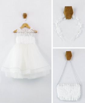 Flower Girls Feather Wedding  Party Dress 3 Piece Set in Ecru front picture