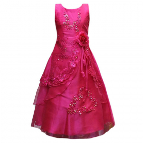 Flower Girls Layered Wedding Bridesmaid Party Dress in Fuchsia Picture