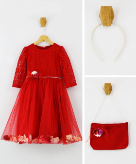 Flower Girls Lace Long Sleeves Party Dress 3 Piece Set in Red with accessories front picture