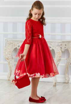 Flower Girls Lace Long Sleeves Party Dress 3 Piece Set in Red with accessories model picture