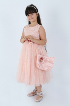 Flower Girls Lace Sleeveless Party Dress 3 Piece Set in Peach Pink side model picture