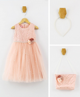 Flower Girls Lace SleeveLess Party Dress 3 Piece Set in Peach Pink front picture