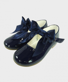 Flower Girls Navy Formal Occasion Wedding Shoes-Pair