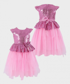 Flower Girls Sequin and Tulle Special Occasion Puffy Dress in Pink Front and Back Picture