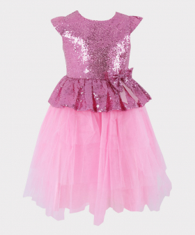 Flower Girls Sequin and Tulle Special Occasion Puffy Dress in Pink Front Picture