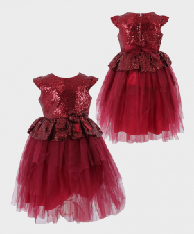 Flower Girls Sequin and Tulle Special Occasion Puffy Dress in Wine Red Front and Back Picture