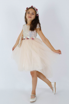 Flower Girls Sequin Short Sleeves Party Dress 3 Piece Set in Powder Pink model picture