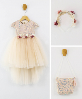 Flower Girls Sequin Short Sleeves Party Dress 3 Piece Set in Powder Pink front picture