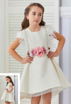 Flower Girls Shimmer Floral High-Low Dress Wedding Party 3 Piece Set in Ecru model  picture