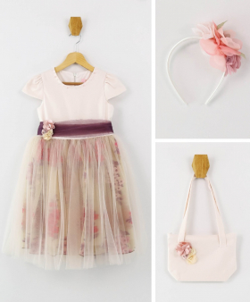Flower Girls Short Sleeves Party Dress 3 Piece Set in Blush Pink front picture