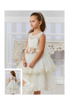 Flower Girls Sleeveless Lace Dress 3 Piece Wedding Set in Ecru model side and back pictures