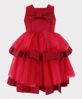 Flower Girls Tulle Special Occasion Puffy Dress in Red