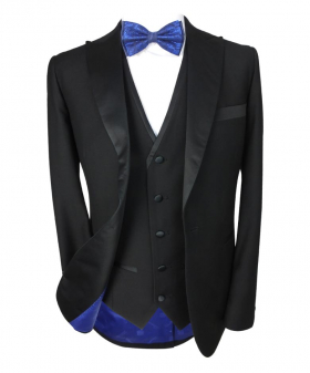 Formal Tuxedo Suit Tailored Fit 3 Piece Set in Black Open Picture