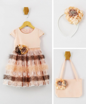 Girl Polka Summer Occasion  Dress 3 Piece Set in Peach front picture