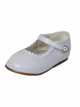 Baby Girls Wedding Party Patterned Christening White Shoes