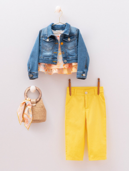 Girls Paisley Print 6 Piece Casual Outfit denim jacket, paisley sleeveless top yellow trousers with accessories front pictures