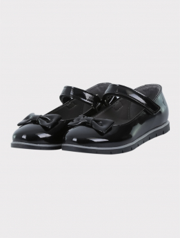 Girls Communion Patent Ballerina Shoes in Black  pair side picture