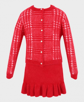 Girls Dress and Cardigan Tailored Fit Herringbone Patterned 2 pieces Set in Red Front Picture